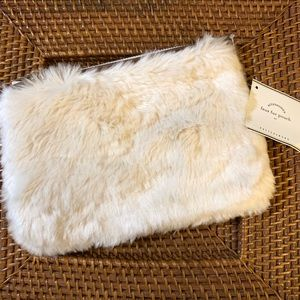 Pottery Barn faux fur zipper pouch ivory cream